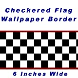 Checkered Flag Cars Nascar Wallpaper Border-6 Inch (Red Edge)
