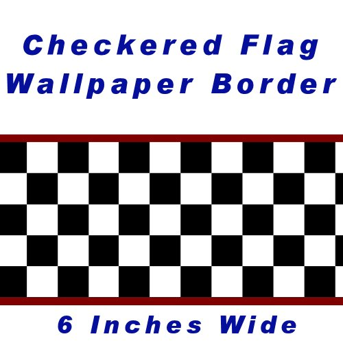 Checkered Flag Cars Nascar Wallpaper Border-6 Inch (Red Edge) Black And White Checkered Border