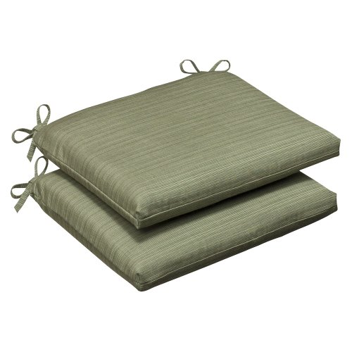 Pillow Perfect Indoor/Outdoor Green Textured Solid Sunbrella Seat Cushion, Squared, 2-Pack