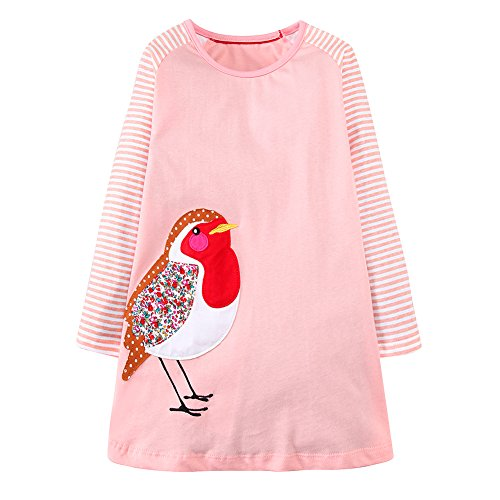 - Youlebao Girls Cotton Long Sleeve Casual Cartoon Appliques Striped Jersey Dresses (6T, Pink Bird)