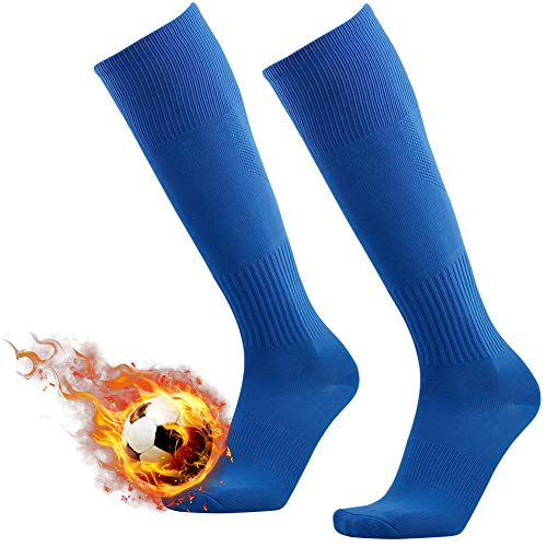 Long Baseball Socks, 3street Unisex Youth Cushioned Over Knee High Solid Pattern Wicking Moisture Sport Soccer Rugby Team Socks for School Uniform Blue 2 Pairs
