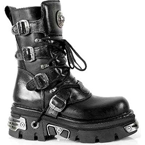 NEWROCK New Rock 373 S4 métallique noir bottes en cuir motards Goth Emo Fashion