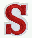 RECHERE letter Alphabet Uppercase Embroidered Iron On Patch Applique Red (S)