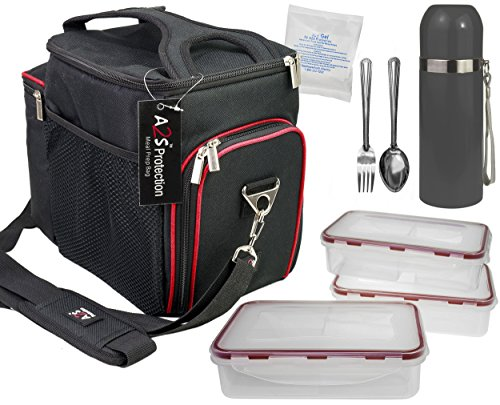 Complete Meal Management 8 Pcs Set by A2S Protection Featuring Cooler Bag 3x Meal Prep Portion Control Containers Leakproof Fork and Spoon Insulated Beverage Bottle Reusable Ice Pack (Black / Red)