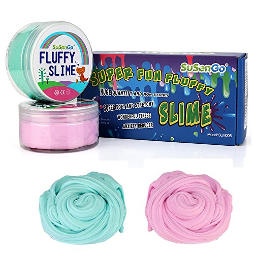 Susengo Fluffy Floam Slime 12 Oz Rose Et Bleu Bébé Jumbo Fluffy