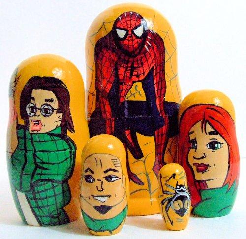 5pcs Handpainted Russian Nesting Doll of Spiderman Large