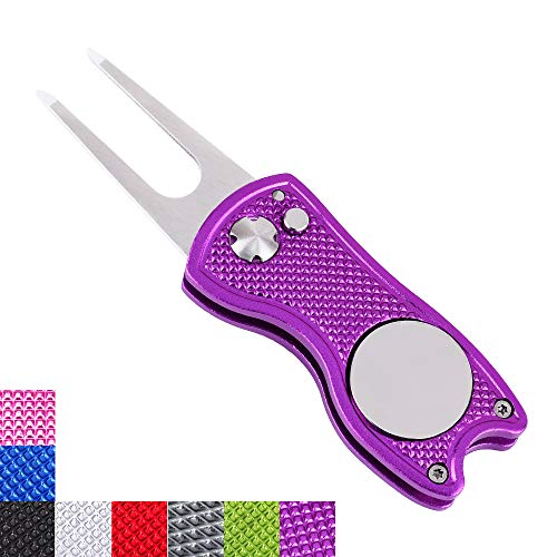 Mile High Life All Metal Foldable Golf Divot Tool with Pop-up Button & Magnetic Ball Marker (Purple Fish) ()