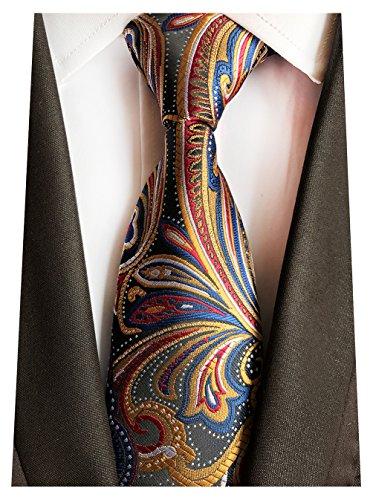 MENDENG New Classic Plaids Check Baby Blue Jacquard Woven Silk Men's Tie ()