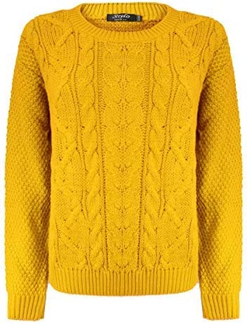 Lets Shop Shop New Womens Ladies All Over Chunky Cable Knit Long Sleeve Jumper Round Crew Neck Top Knitted Pullover Sweater Plus Size 10 12 14 16 18 20