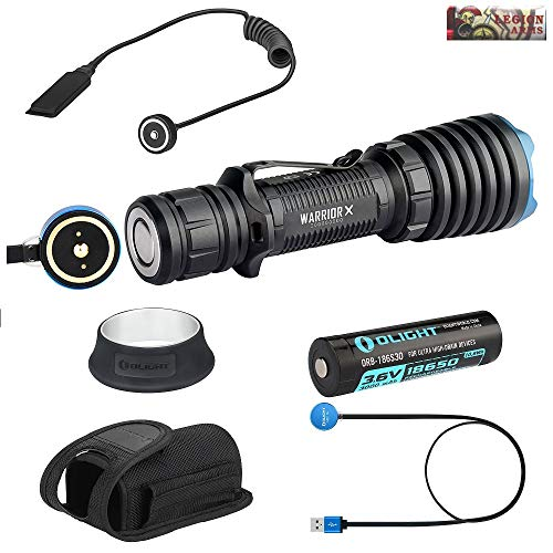 (Olight Warrior X Bundle 2000 Lumen Rechargeable Tactical LED Flashlight Pack and RWX Magnetic Remote Pressure Switch)