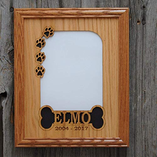 8x10 Personalized Dog Picture Frame - with Name - Bone & Paw Prints - Holds 5x7 Photo