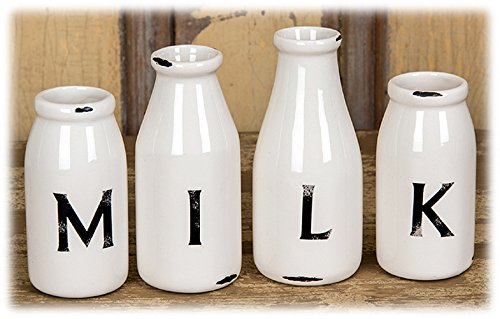 Designs Combined White Ceramic M I L K Milk Bottle Vases - Set of 4