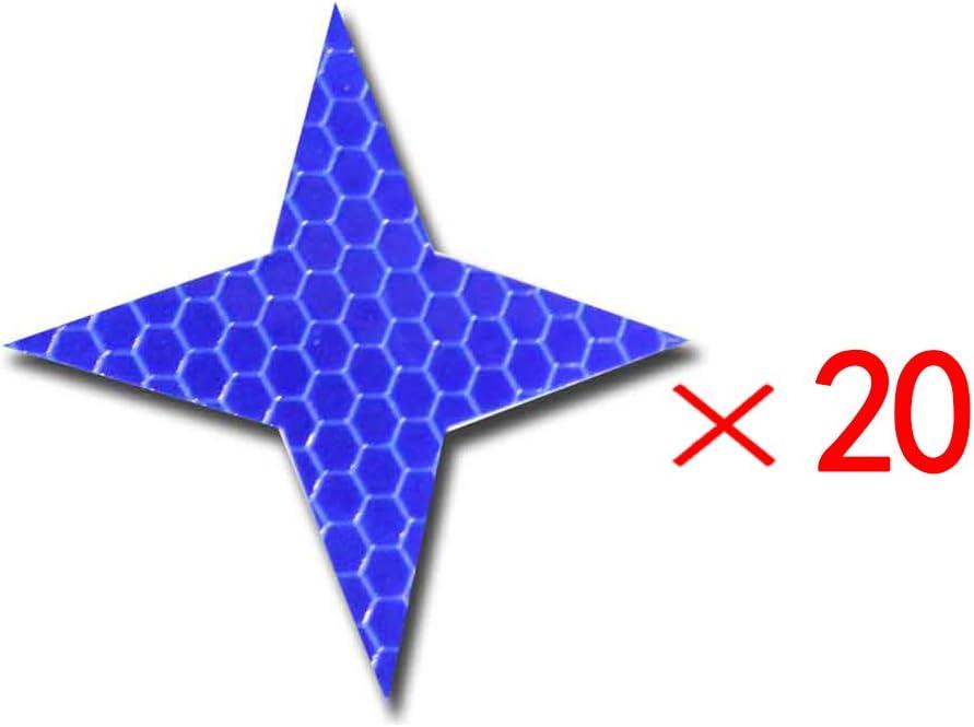 Cobear 20x Hoch Intensives Reflektoren Aufkleber Selbstklebend Für Lkw Auto Motorrad Boot Fahrrad Anhänger Helm Taschen Sicherheit Warnklebeband Sicherheit Markierung Band Vierzackige Sternform Blau Auto