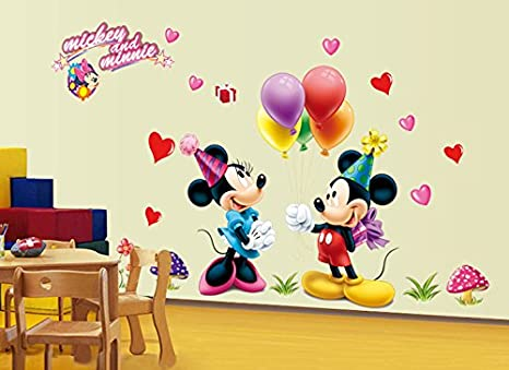 Syga 'Mickey & Minnie' Wall Decal (PVC Vinyl, 60 cm x 6 cm x 4.8 cm) Wall Stickers at amazon