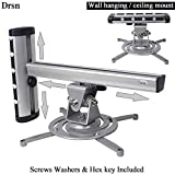 Drsn Universal Projector Mount Wall Universal Ceiling Projector Mount 2-in-1 Projector Hanger Wall Hanging Mount 360° Swivel 55lbs Loading Silver for Epson Optoma Benq ViewSonic LCD/DLP Projector
