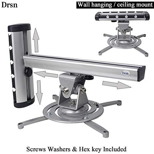 Drsn Universal Projector Mount Wall Universal Ceiling Projector Mount 2-in-1 Projector Hanger Wall Hanging Mount 360° Swivel 55lbs Loading Silver for Epson Optoma Benq ViewSonic LCD/DLP Projector Arm Lcd Projector Cart