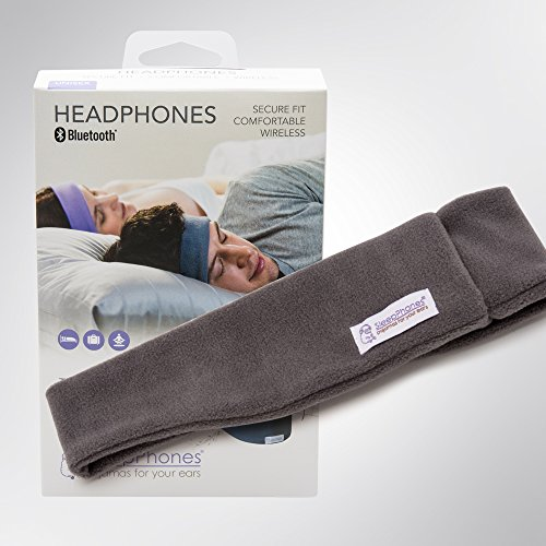 Sleepphones Wireless   Bluetooth Headphones   Ultra Thin Speakers   Lightweight   Comfortable Headband   Best For Insomnia   Includes Micro Usb For Recharging   Soft Gray   Fleece Fabric