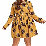 Anxinke Women Casual Floral Printed Chiffon Long Sleeve Button Down Mini Dress Plus Size (3XL)