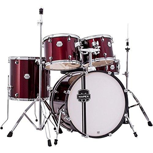 mapex-vr5254tdrzz-voyager-standard-5-piece-drum-set-with-cymbals-dark-red