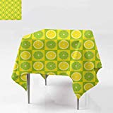 DUCKIL Elegant Waterproof Spillproof Polyester Fabric Table Cover Lemon and Lime Figures in Pop Art Inspired Pastel Toned Squares Graphic W54 xL54 Yellow Lime Green