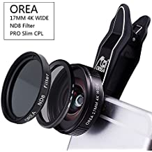 Camera Lens Filter Kit for Iphone, 4IN1 Camera Lens Kit & 17MM Wide Lens +18x Macro Lens+37MM CPL Filter + 37mm ND Filter & Universal Clip for Iphone Samsung Hawei Pixel Smartphone Tablet