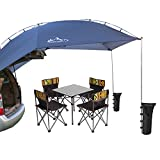 PlayDo Waterproof Teardrop Trailer Awning Portable Car SUV Awning Tent Sun Shelter Canopy for Camping 4 Persons (Blue)