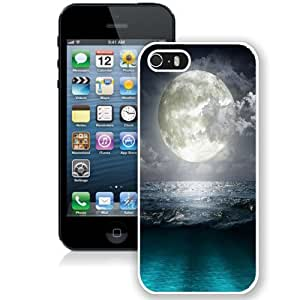 Fashionable Custom Designed iPhone 5S Phone Case With Super Moon Blue Ocean_White Phone Case