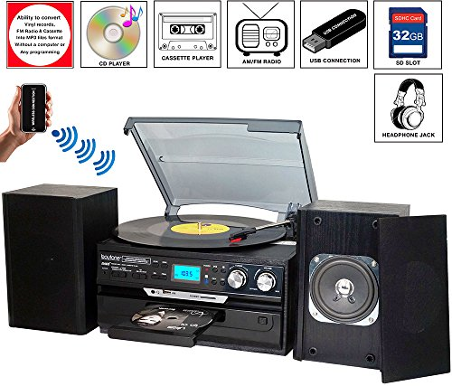 7-in-1 Boytone BT-24DJB Turntable with Bluetooth Connection, 3 Speed 33, 45, 78 Rpm, CD, Cassette Player AM, FM USB, SD Slot, Aux Input. Encoding Vinyl & Radio & Cassette To-MP3, Remote control by Boytone