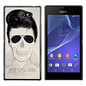 MobileHut / Sony Xperia M2 / Elvis Rock And Roll Skull Text Music / Delgado Negro Plástico caso cubierta Shell Armor Funda Case Cover
