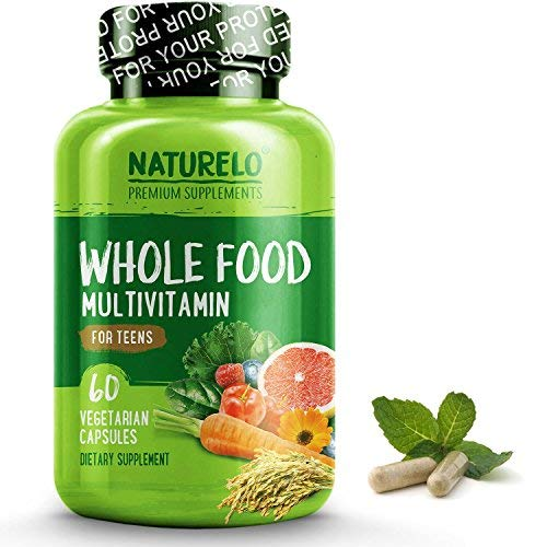 NATURELO Whole Food Multivitamin for Teens - Natural Vitamins/Minerals for Teenage Boys & Girls - Best Supplement for Active Kids - with Organic Extracts - Non-GMO - Vegan/Vegetarian - 60 Capsules