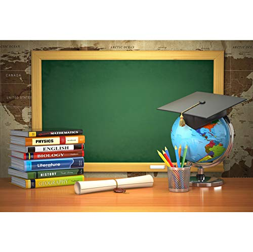 CSFOTO Back to School Backdrop 5x3ft Photography Background Online Course Decor Course Books Blackboard Tellurion Graduation Cap Homecoming Student Children Portrait Photo Studio Props