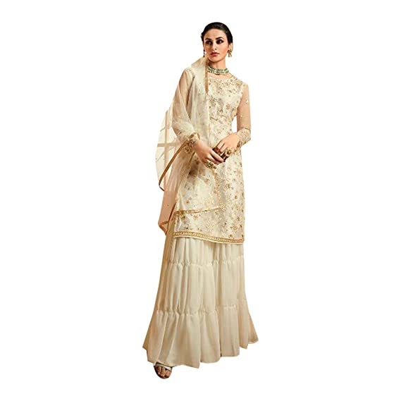 1247192257 Heavy Georgette Party Wear Grey Sharara Pakistani Suit 7501: Amazon.in:  Clothing & Accessories