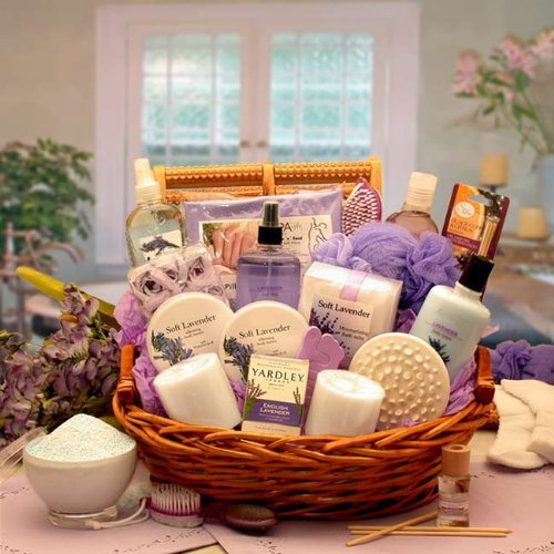 Lavender Bath Body Spa Basket for Women - Mothers Day Gift Idea for Her by Organic Stores
