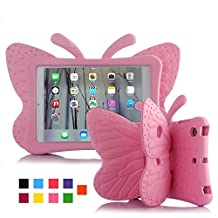 iPad Mini 1 2 3 4 Kids Case, UCMDA Light Weight Children Shockproof Protection Cover with Butterfly Stand, Prefect for Apple iPad Mini 1 2 3 4, Use Safely Durable EVA Foam Material - Pink
