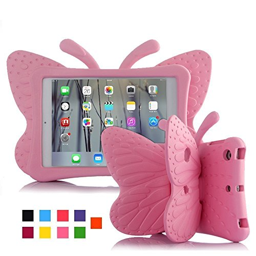 New iPad 9.7 2017 Kids Case, Halnziye Light Weight Children Shockproof Protective Cover with Butterfly Stand, Prefect for Apple iPad Pro 9.7 inch / iPad 2017 9.7 inch - Baby Pink