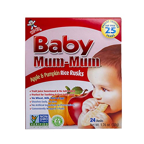 Hot-Kid Baby Mum-Mum Rice Rusks, Apple & Pumpkin, 24 Pieces (Pack of 6) Gluten Free, Allergen Free, Non-GMO, Rice Teether Cookie for Teething Infants