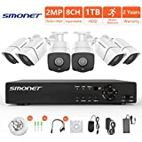 [FULL HD] 1080P Wired Security Camera System,SMONET 8 Channel 2MP Outdoor/Indoor Surveillance System with 1TB HDD(AHD CCTV DVR Kits), 6pcs Weatherproof Security Cameras,Nigth Vision,P2P, Remote View