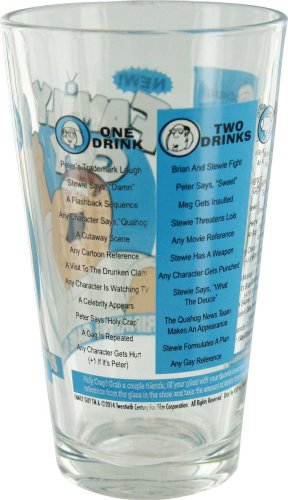 ICUP Family Guy Drinking Game Pint Glass, 16 oz