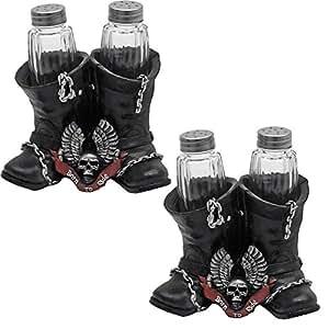 Open Road Spice Born To Ride Winged Skull Biker Boots Salt & Pepper Shaker Set No. HH40334 Set of 2 Gift Bundle