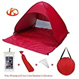Kushina Automatic Pop Up Instant Portable Outdoors Quick Cabana Beach Tent Sun Shelter (Red)