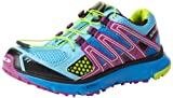 Salomon Women's XR Mission Trail Running Shoe,Score Blue/Very Purple/Pop Green,8 M US