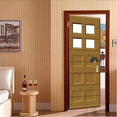 Juego de pixel de puerta de madera. 95X215CM 3d Pegatinas de puerta Material de PVC Tres tallas Visión estéreo Pintura decorativa casera India moda Murales: Amazon.es: Bricolaje y herramientas