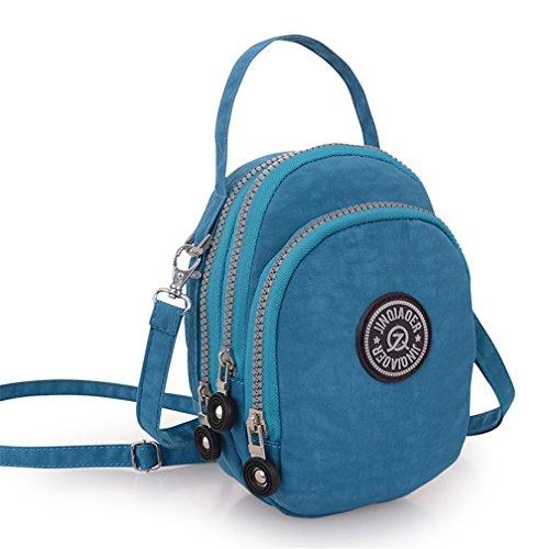 tianhengyi Nylon resistente de agua pequeño bolso bandolera bolso de mano Monedero de tres capas bolsa de teléfono celular para adolescentes Azul Sea