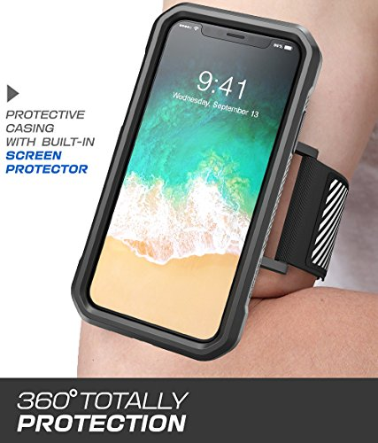 iPhone X Armband, SUPCASE Easy Fitting Sport Running Armband Case for Apple iPhone X/iPhone 10 2017 Release (Black) by SUPCASE (Image #1)