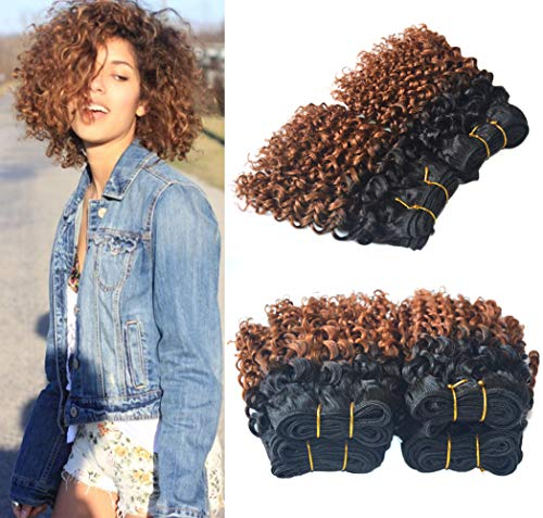 Greemeo 100% Human Hair Weaving 2 Tone Black Ombre Brazilian 8 Inches Short Curly 50g/pc Virgin Hair 4 Pieces Lot Machine-Weft Sew in Extensions Unprocessed Jerry Curl (8 Inches x 4pcs, 1B/30)