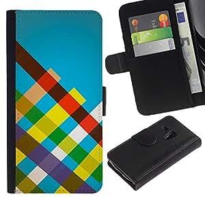 KLONGSHOP // Tirón de la caja Cartera de cuero con ranuras para tarjetas - Rayas del arco iris - Samsung Galaxy S3 MINI 8190 //