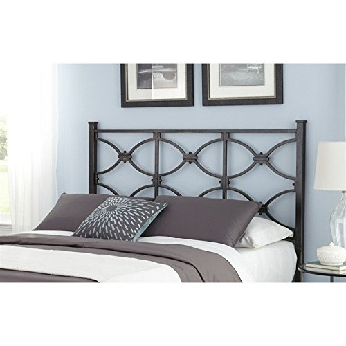 Marlo Metal Headboard Panel with Squared Finial Posts, Burnished Black Finish, Full