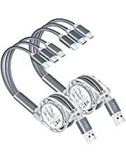 Multi USB Retractable Charging Cable,Arsiperd 2Pack 3 in 1 Multiple USB Fast Charging Cord Adapter Type C Micro USB Port Connectors Charger Compatible Cell Phones Tablets Universal Use (3.3ft/Gray)