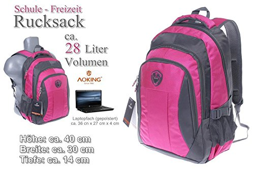 Rucksack, Schulrucksack, Sporttasche, Freizeitrucksack, City Rucksack, Arbeit, Sport, Schule, Uni, Freizeit (Pink) Blau