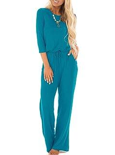 98dfa715680 MIHOLL Womens Loose Jumpsuit Casual 3  4 Sleeve Wide Legs Long Jumpsuit  Rompers
